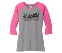 Juniors 3/4 Sleeve Workout Jersey Tee Vintage Hot Pink