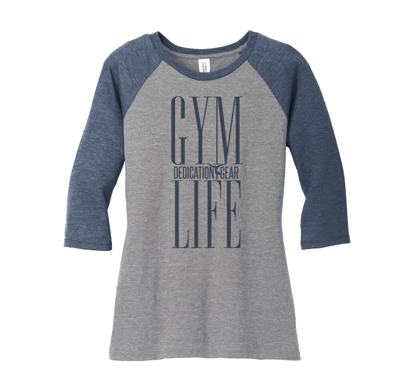 Ladies Raglan Top with Grey Body and Navy Sleeves
